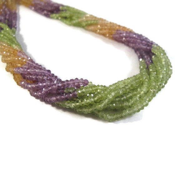 Natural Gemstone Beads, Tiny Rondelles, Amethyst, Peridot, and Citrine for Making Jewelry, 13.5 Inch Strand, 2.5-3mm (R-Mix1)