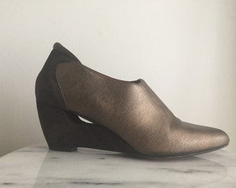 Ziggy - Couture Metallic Leather Booties by Donald J Pliner. Made in Italy.