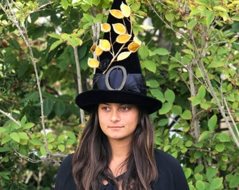 Witch Hat Halloween Modern Black Hat Society Elegant Witches Hat, Adult Costume