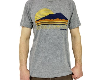 burlington vermont shirt tshirt tee tri blend american apparel grey vintage inspired sunset camels hump new duds