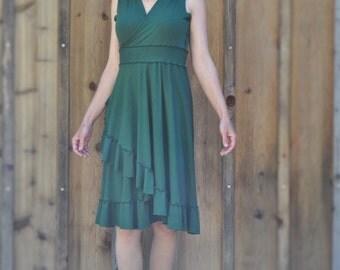 Wrap Dress with Ruffles, Organic Cotton, Bamboo, Made to Order, Natural Beauty Bridesmaids