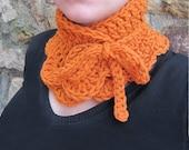 Crochet cowl,crochet neck warmer,wool neck warmer,wool cowl,chunky wool neck warmer,orange neck warmer,tangerine,Christmas gift for her