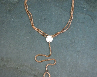 Bronze Chain Y Necklace - Long Y Necklace with Hammered Disc