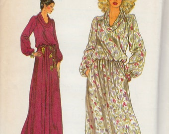 """1970's Vintage Sewing Pattern Ladies' Cowl Neck Dress Vogue 7221 34"""" Bust - Free Pattern Grading E-book Included"""