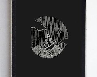 Ship at Sea Fine Art Print // wall art // wall decor // illustration // home decor // home goods / black decor / ocean print / nursery print