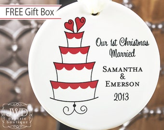 Newlywed Christmas Ornament Personalized Ornament Our First Christmas Married Engagement Gift Wedding Cake Ornament  - Item# SCA-O