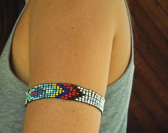 Bright Native American Beaded CUFF Bracelet - Vintage 70s