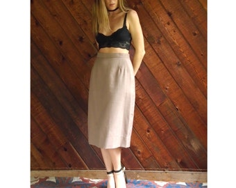 High Waisted Pleat Front Pencil Skirt - Vintage 80s - S/M 4