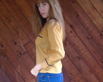 Gold and Brown Tipped LS Button Down Pajama Style Shirt Top - Vintage 70s - XS S