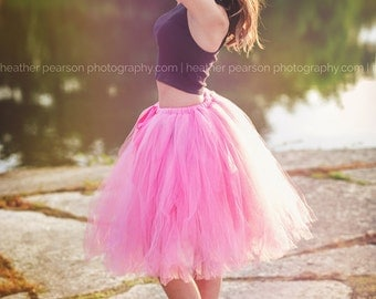 Paris Pink - Bright Pink Tulle Skirt - Sewn Tutu - Bridesmaid, Bride, Formal - Your choice of size and length - Retro style Hot pink