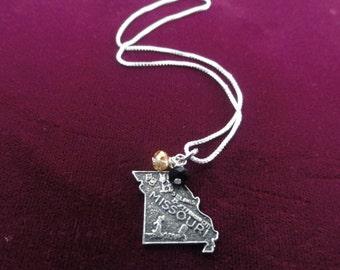 Missouri Tigers Necklace- Vintage Sterling Silver Missouri Map Charm- Mizzou Pendant Black & Gold Beads- University of Missouri Necklace