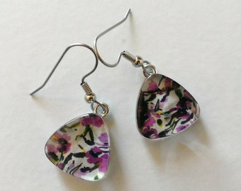 Titanium Purple and Black Floral Glass Dangle Earrings - Hypoallergenic - Contains No Nickle - Great For Sensitive Ears- One of a Kind