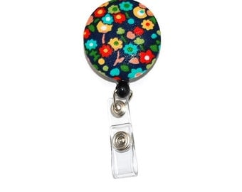 Flower Blooms on Navy Large Fabric Button Badge Reel Retractable ID Choice of Clip