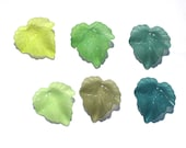 Acrylic Leaf Beads - Single Shades Greens - 24x25mm Frosted Lucite Leaves