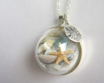Sterling Silver Necklace w/ Real Starfish, Sea Glass, Sand and Shells - Beaches of 30-A - Handmade Beach in a Bubble Necklace- One of a Kind