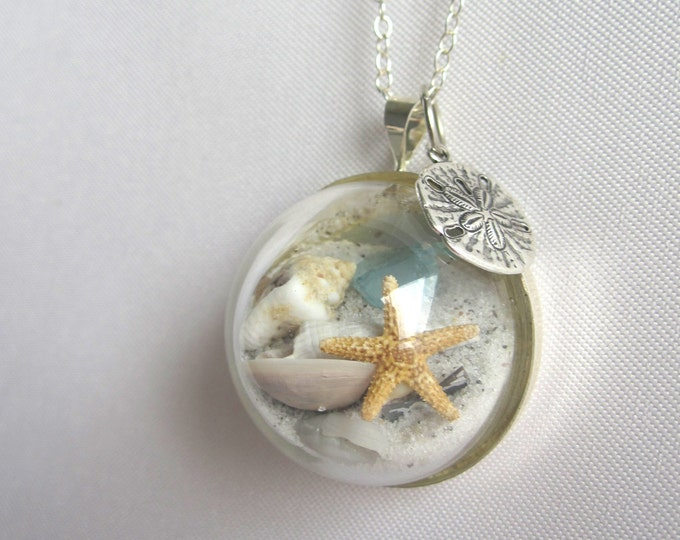Featured listing image: Sterling Silver Necklace w/ Real Starfish, Sea Glass, Sand and Shells - Beaches of 30-A - Handmade Beach in a Bubble Necklace- One of a Kind
