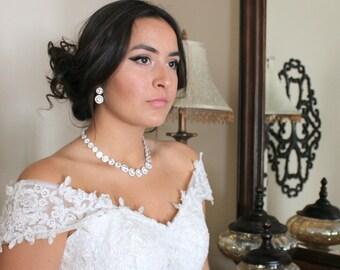 Bridal necklace, Bridal jewelry set, Bridal earrings, Rose gold earrings, Rose gold necklace set, Classic Wedding necklace, Statement