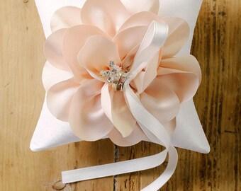 Peach wedding ring pillow, satin flower ring bearer pillow, blush ring pillow, blush wedding decor - Sellena