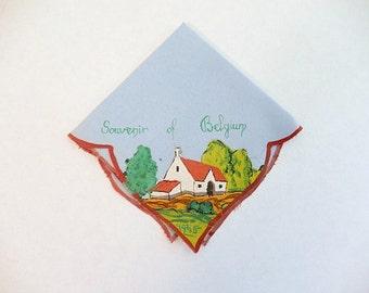 WWII hand painted hankie, 1945, Belgium, collectible handkerchief, Souvenir of Belgium, textile art, War time hankie