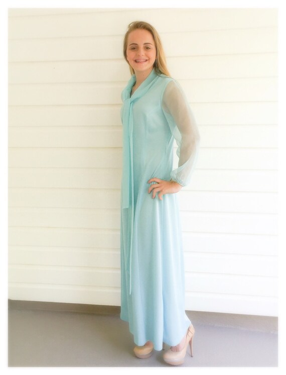 Seventies Wynette Blue Maxi Dress