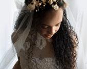 Bridal draped veil, bridal veil, tulle veil, bridal veil set, custom veil, fine tulle veil, gold headpiece, flower headpiece,