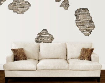 Rustic Faux Stone Breakaway Wall Decals, Removable & Reusable Wall Stickers