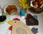 Crochet Hen Placemat, Easter Hen Coaster, Chicken Egg Cozy - table setting for one