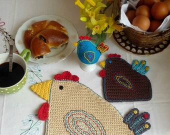 Easter Table Setting - Crochet Hen - Rustic Table Decor - Hen Place Mat - Hen Coaster - Hen Egg Cozy - Spring Table Decor - Set for One