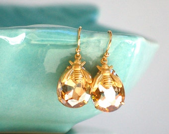 Bee Earrings Gold Bee Crystal Earrings Honeybee Woodland Wedding Bridal Jewelry Bumblebee Gift for Her Summer Jewelry Bridesmaid Gift