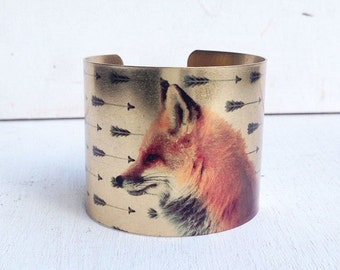 Fox Bracelet Red Fox Wildlife Jewelry Arrow Tribal Forest Animal Bracelet Foxy Art Bracelet Autumn Woodland