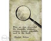 Sherlock Holmes Quote Printable - 8x10 Wall Art Print (Bookworm gift idea!) Digital File / Instant Download