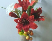 Floral Arrangement, Red White Flowers Winter Bulbs Faux Flower Arrangement Red Amaryllis Flower Paperwhites Narcissus