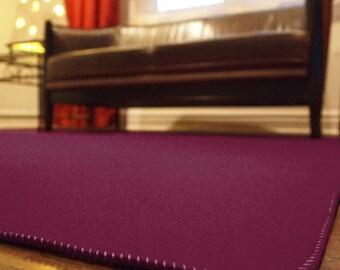Burgundy Designer Wool Felt Area Rug - 100% Wool, Multiple Colors and Sizes Available, Felt Rug