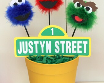 Red, Blue, and Green monster street sign centerpiece, inspired by Elmo, Cookie Monster, and Oscar the Grouch from Sesame Street