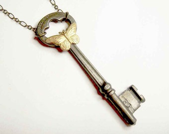 Antique Key with Butterfly Neo-Victorian Necklace
