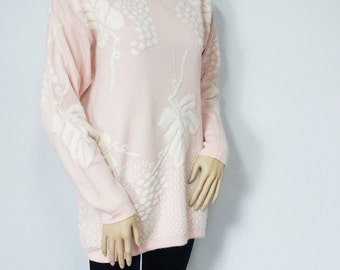 1980's Sweater Pink Tunic Sweater Grape Vine Pull Over Sweater Raglan Warm Cozy Sweater Size Medium