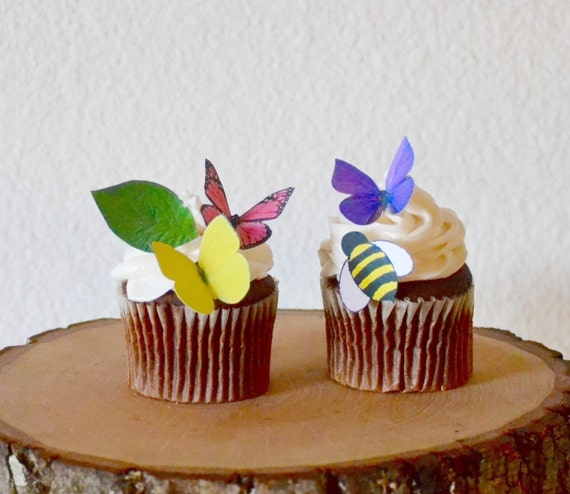 EDIBLE Spring Collection - set of 25 - Cake & Cupcake toppers - PRECUT and Ready to Use
