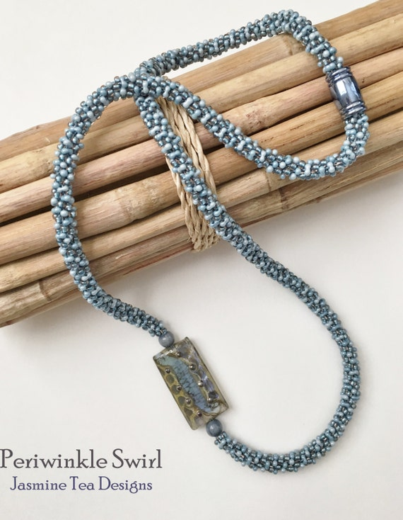 Periwinkle Swirl Beaded Kumihimo Necklace, Asymmetric Necklace with Artisan Lamp Worked Focal Bead