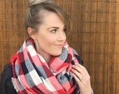 Oversized Blanket Scarf in Red, Navy Blue, Winter White Ivory Cream Large Wrap Tartan Accessory Shawl Fashion Accessories Americana USA