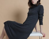 SALE Vintage 90s Charcoal Gray Knit Turtleneck Midi Dress | M