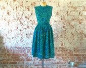 1960s Dress Vintage Blue Green Floral Print Abstract Swirl Cotton Fit & Flare Day Dress M