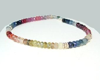 Sapphire Bracelet Multi Shaded Gemstone Beaded, Rainbow Sapphire Bracelet, Multi Color Sapphire Jewelry Custom Made Yr Size, Silver or Gold