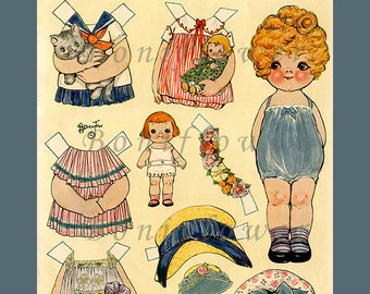 Instant Download Digital Printable Paper Dolls Dolly Dingle Her Dollies Vintage Digital Collage Sheets PNG Jpg Toys Games Paper Scrapbooking