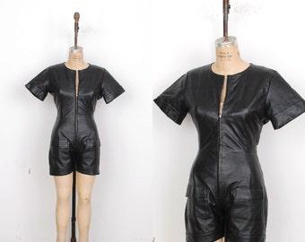 Vintage 1980s Romper / 80s Black Leather Romper / Onesie (S M)