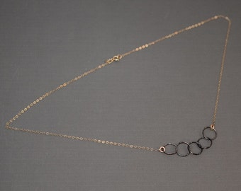 Gold 14K and Oxidized Sterling Silver Necklace