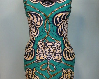 Ankara Bombshell Mini Dress in Beautiful Wax Block Seashell and Rope Nautical Fabric