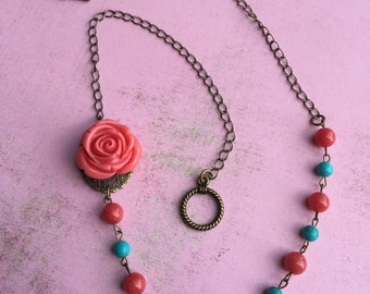 Asymmetrical Romantic Antique Rose Necklace FREE SHIPPING
