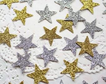 100 glitter stars - Paper Confetti - Glitter Confetti - Christmas and Party Confetti - Confetti - 100% Handmade. Ready to Ship.