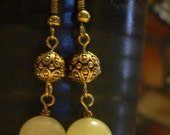 Green earring, dangle earrings, New Chinese Marble, green and gold, bright green earring, gemstone earring, boho earring