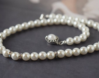 Choker Pearl Necklace Czech Glass Pearl Choker White Pearl Necklace Pearl Bridal Necklace Wedding Jewelry Bridesmaid Necklace Gift for Her